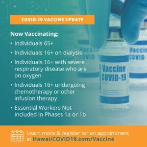 ハワイは3月15日月曜日からワクチン接種計画の1Cフェーズに移行します
